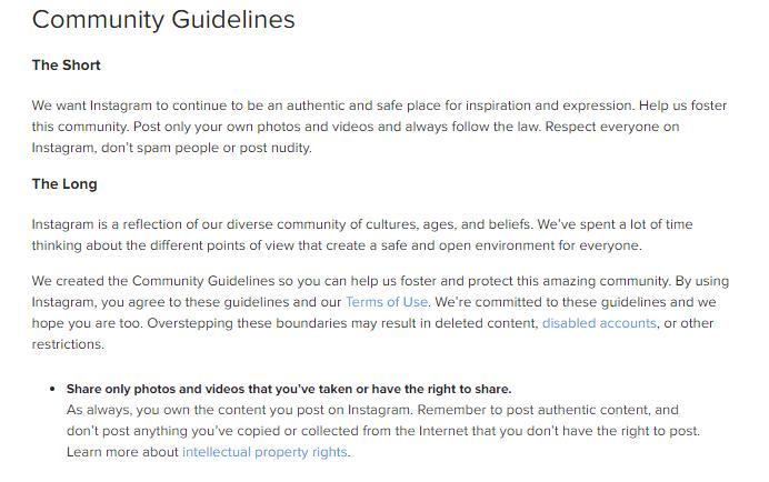 Instagram's Guidelines